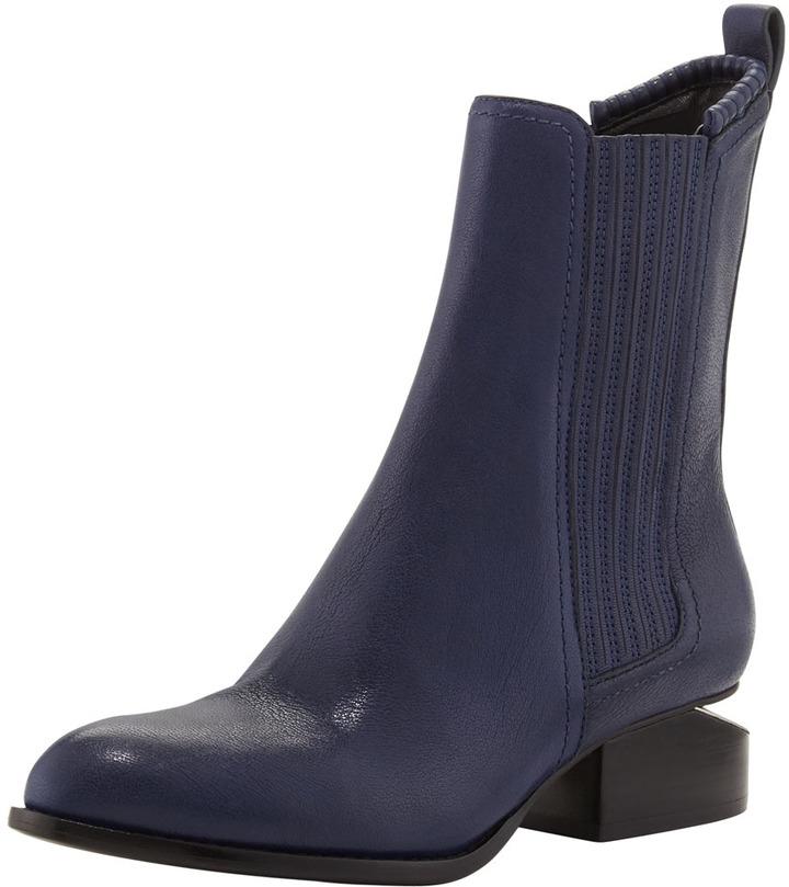 Alexander Wang Anouk Leather Notch-Heel Bootie, Indigo