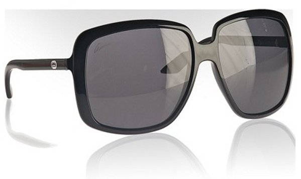 Gucci shiny black signature stripe oversized sunglasses