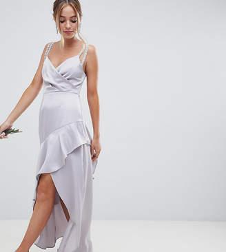 Asos DESIGN Petite pearl trim strap maxi dress with ruffle skirt