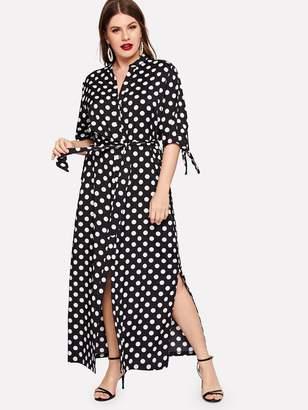 Shein Plus Polka Dot Tie Cuff Dress