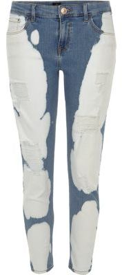 River Island River Island Womens Blue Alannah cow print relaxed skinny jeans