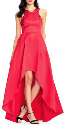 Adrianna Papell High-Low Mikado Gown with Embellished Halter Neckline