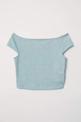 H&M Jacquard-knit Jersey Top - Turquoise
