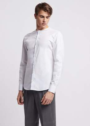 Emporio Armani Slim-Fit Shirt In Stretch Cotton With Stitching On The Shoulders