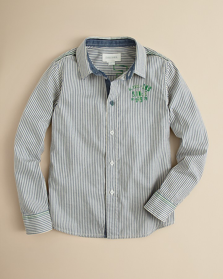 Diesel Boys' Caixi Pinstripe Button Down Shirt - Sizes XXS-S