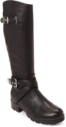 Marc Fisher Black Misty Buckle Leather Tall Boots