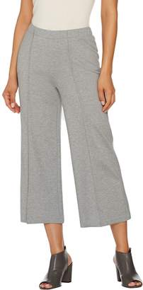 Halston H By H by Ponte Knit Wide Leg Pull-On Crop Pants