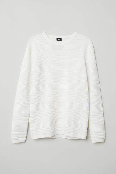 H&M - Textured-knit Sweater - White