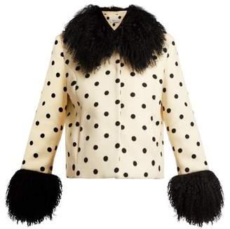 Saks Potts - Dorothe Polka Dot Wool Jacket - Womens - White Black