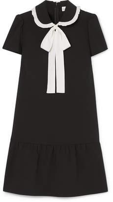 RED Valentino Pussy-bow Ruffled Stretch-crepe De Chine Mini Dress - Black