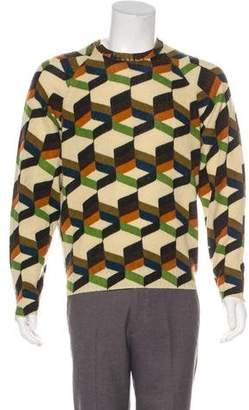 Prada 2017 Geometric Intarsia Wool Sweater