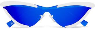 Le Specs Adam Selman The Scandal Cat-eye Metal Mirrored Sunglasses - Royal blue