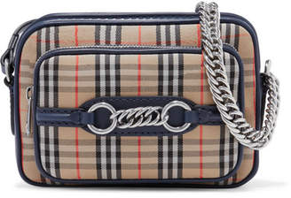 Burberry Leather-trimmed Checked Cotton-canvas Shoulder Bag - Neutral