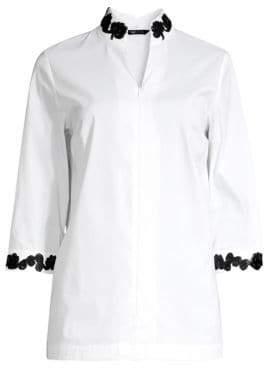 Misook Women's Embroidered Trim Zip Blouse - White Black - Size XS