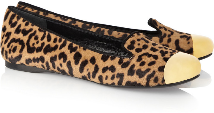 Yves Saint Laurent Evalyn animal-print calf hair and metal loafers