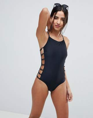 Lost Ink Strappy Side Swimsuit