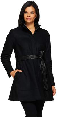 G.I.L.I. Got It Love It G.I.L.I. Wool Peplum Coat with Faux Leather Belt