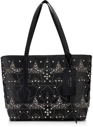 Jimmy Choo TWIST EAST WEST Black Mix Leather Tote Bag with Graphic Star Studded Embellishment