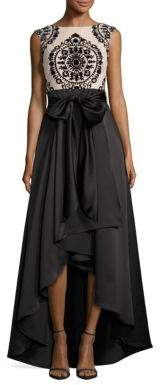 Betsy & Adam Lace-Trimmed Hi-Lo Gown $239 thestylecure.com