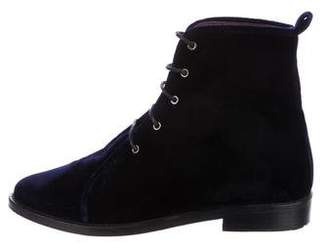 Opening Ceremony Velvet Lace-Up Booties