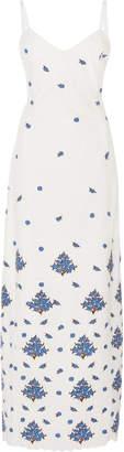 Rebecca de Ravenel Embroidered Broderie Anglaise Cotton Midi Dress
