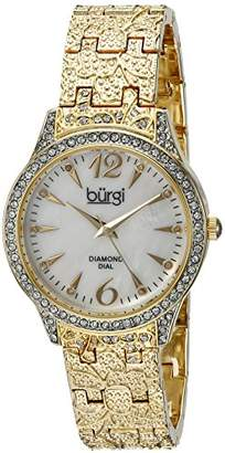 Burgi Women's BUR127YG Diamond & Crystal Accented Mother-of-Pearl Dial Embossed Yellow Gold Bracelet Watch