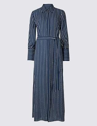 Marks and Spencer Stripe Long Sleeve Maxi Shirt Dress