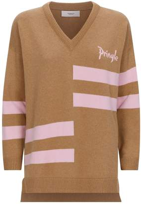 Pringle Striped Logo Cashmere Sweater