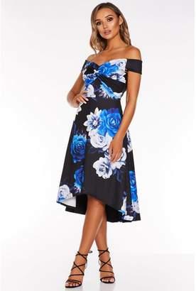 Quiz Black and Royal Blue Floral Print Bardot Dip Hem Dress