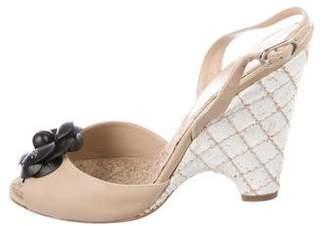 Chanel Camellia CC Leather Sandals
