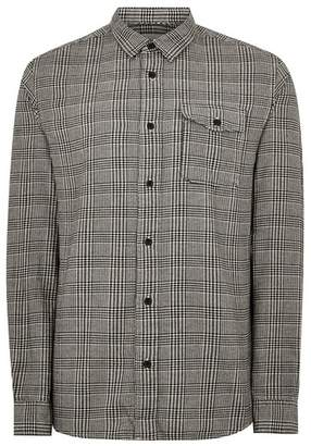 Topman Mens Grey SELECTED HOMME Check Long Sleeve Shirt