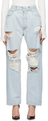 Unravel Indigo Bleached Baggy Boy Jeans