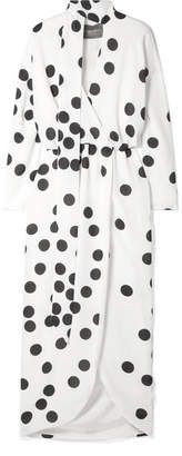 Monique Lhuillier Wrap-effect Pussy-bow Polka-dot Chiffon Midi Dress - White
