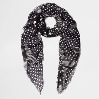 River Island Womens Black polka dot print frayed scarf