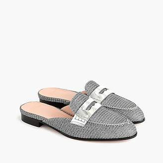 J.Crew Academy penny-loafer mules in Lurex®