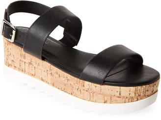 Madden-Girl Black Suga Flatform Slingback Sandals