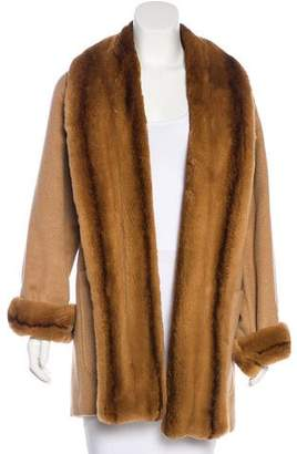 Max Mara Mink-Trimmed Camel Hair Coat