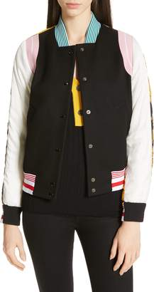 N°21 N21 Floral Print Contrast Varsity Jacket