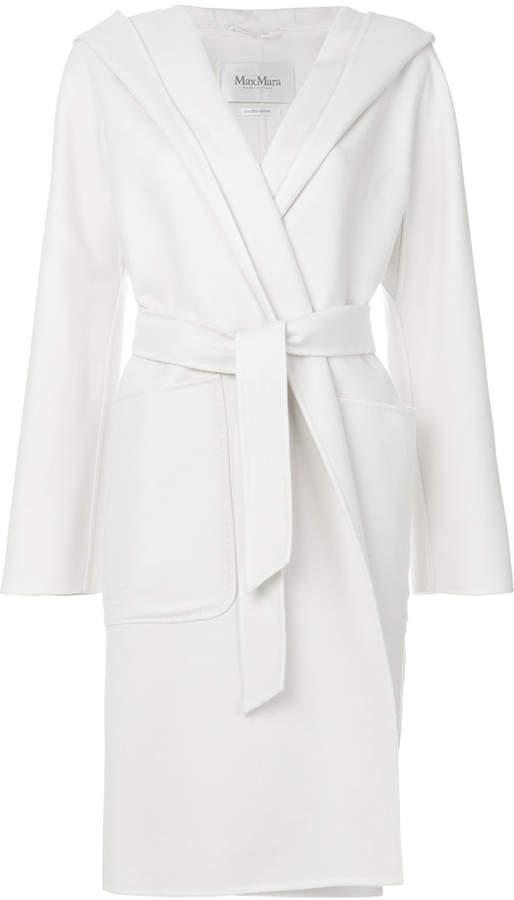 hooded wrap-around coat