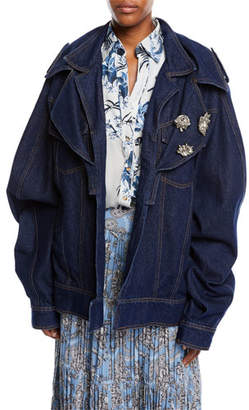 Johanna Ortiz Its All Good Double-Collar Oversized Denim Jacket