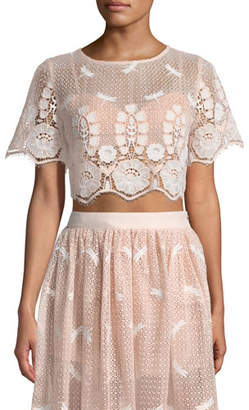 Miguelina Lula Round-Neck Scallop Lace Cropped Top