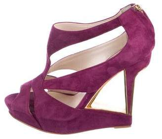 Christian Dior Suede Cut-Out Wedges