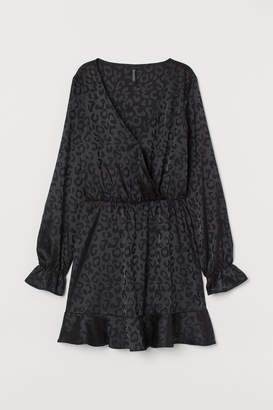 H&M Jacquard-weave Satin Dress - Black