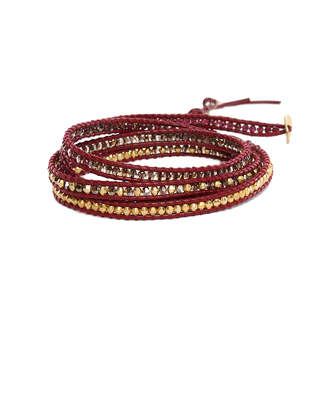 Chan Luu Mix Bead on Maroon Leather Wrap