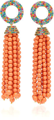 Joanna Laura Constantine Grommet Tassel Gold-Plated Brass and Cubic Zirconia Earrings