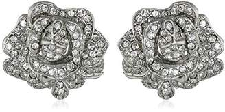 Kenneth Jay Lane Bride Clear Crystal Rose Flower Ball Earrings