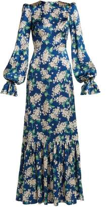 The Vampire's Wife - Belle Floral Print Silk Dress - Womens - Navy Print