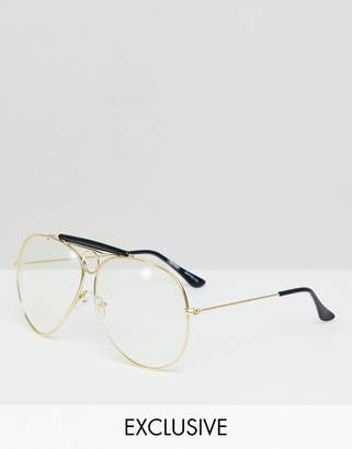 Reclaimed Vintage Inspired Aviator Clear Lens Glasses In Gold