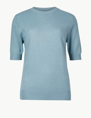 Marks and Spencer Textured Round Neck Short Sleeve Jumper