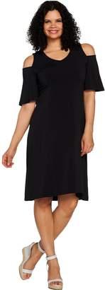 Halston H By H by Regular Jet Set Jersey Cold Shoulder Hi-Low Hem Dress